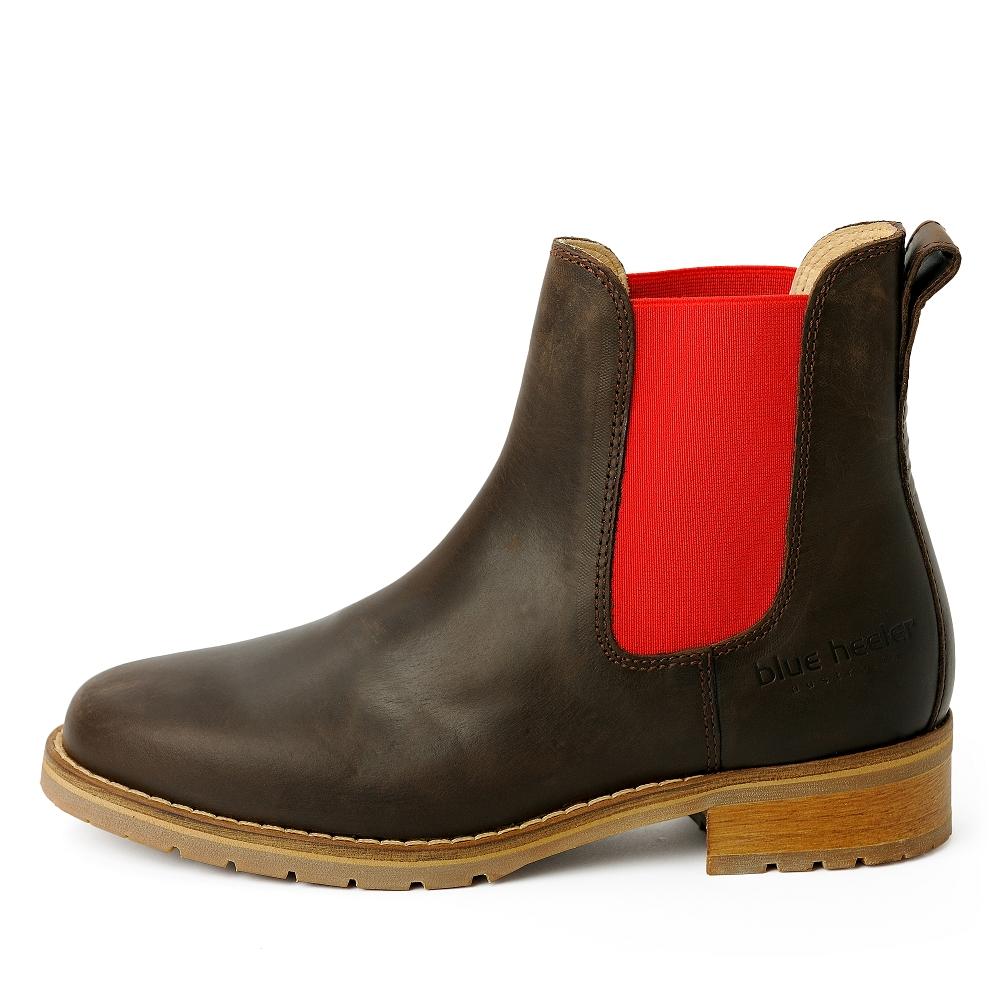 big sale 59cf7 637c7 damen-boots-stiefeletten-chelsea-braun-rot-josslyn-leder ...