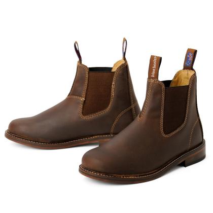 Damen Boots Stiefeletten Chelsea Braun Windsor Handgenaeht Ledersohle