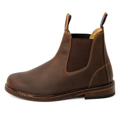 Herren Boots Stiefeletten Chelsea Braun Windsor Handgenaeht Ledersohle 03