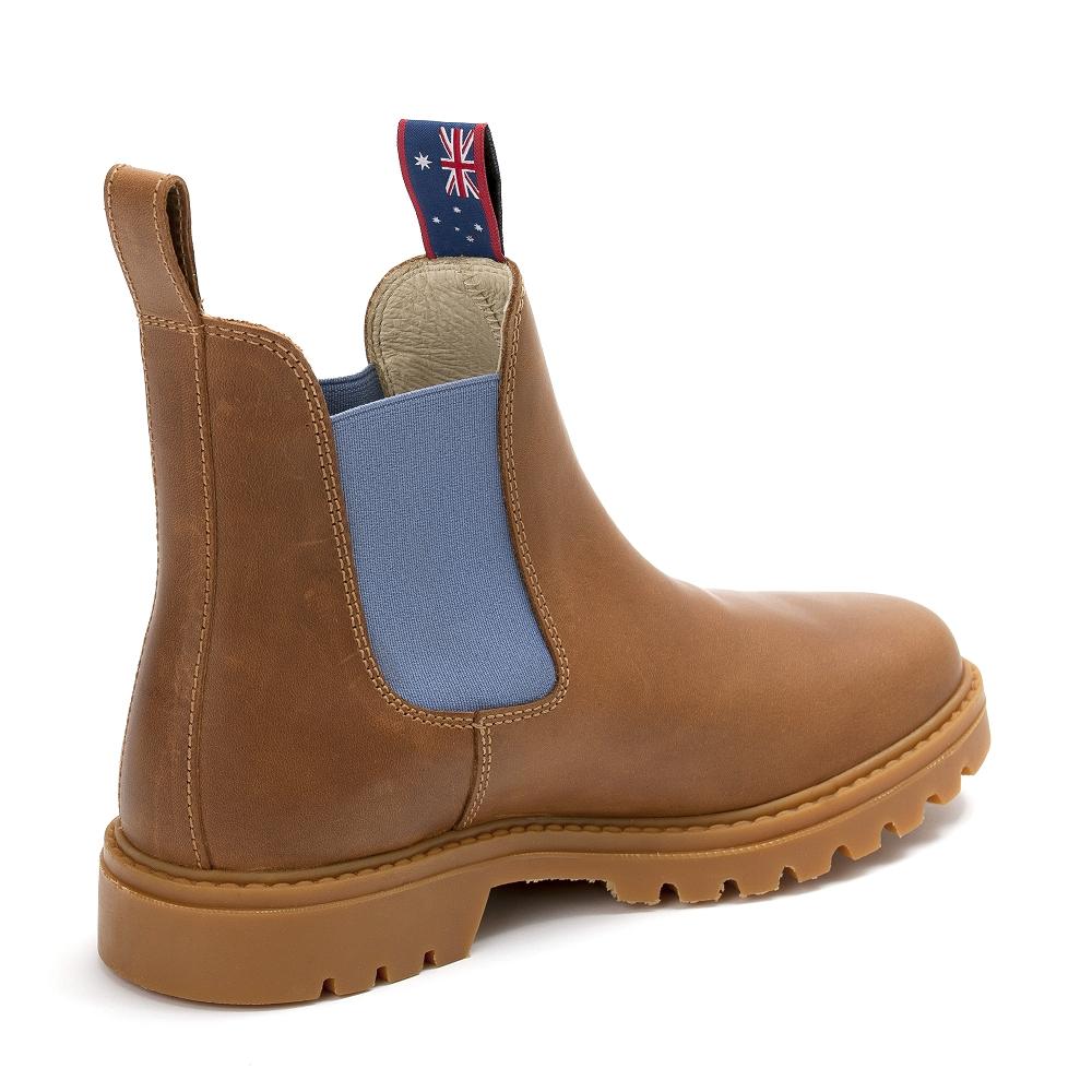super popular 09f2e dca3b damen-boots-stiefeletten-chelsea-cognac-hellblau-sydney ...