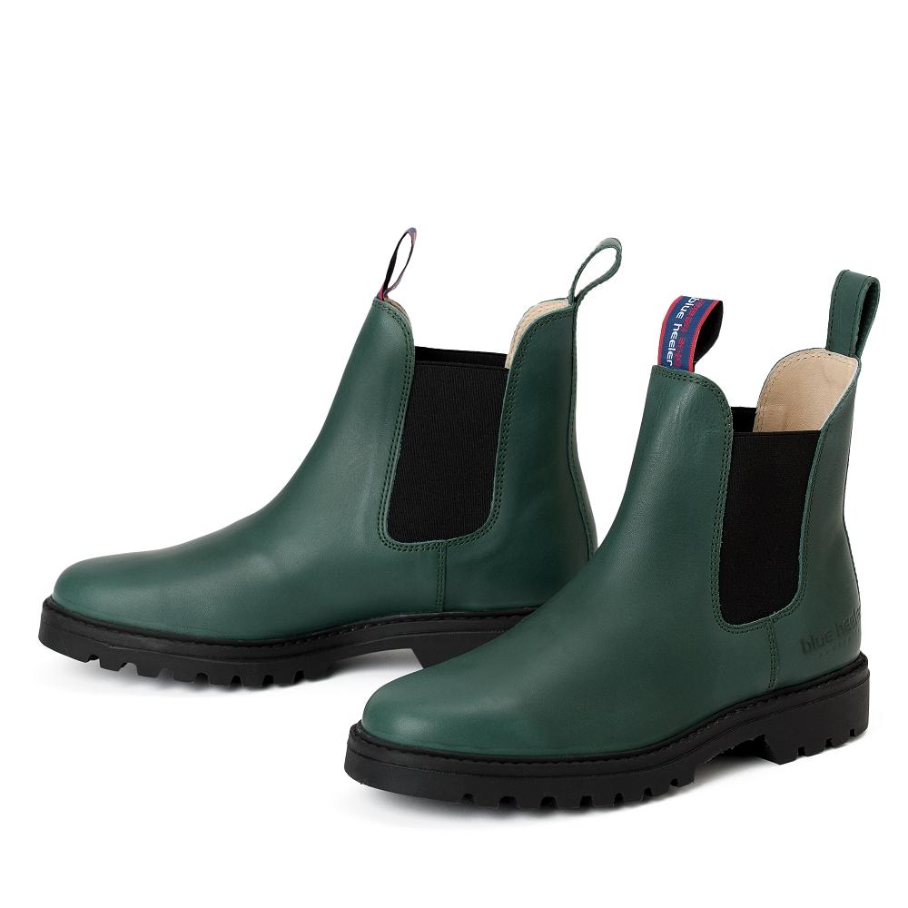 quality design 58a17 ea686 damen-boots-stiefeletten-chelsea-grün-schwarz-meryl-leder ...