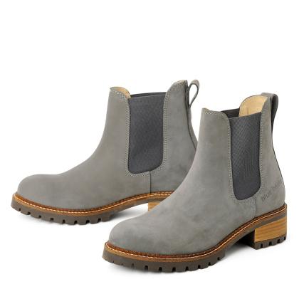 Damen Boots Stiefeletten Chelsea Grau Pash Leder Rutschfest 00