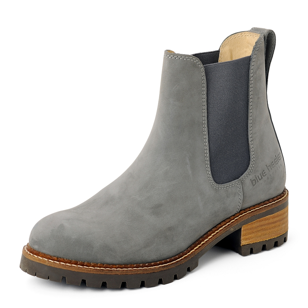 Damen Boots Stiefeletten Chelsea Grau Pash Leder Rutschfest 04