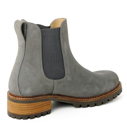 Damen Boots Stiefeletten Chelsea Grau Pash Leder Rutschfest 05