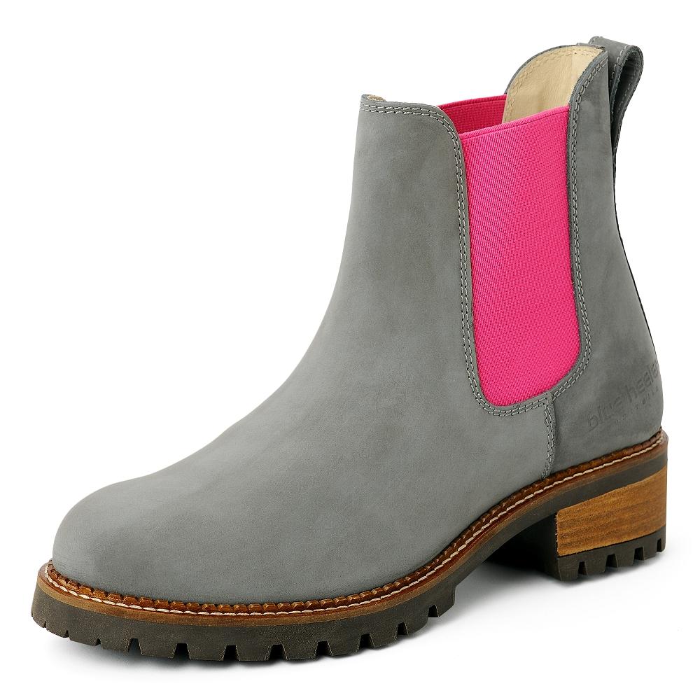 premium selection e6e84 77c14 damen-boots-stiefeletten-chelsea-grau-pink-pash-leder ...