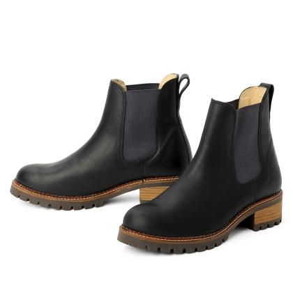 damen boots stiefeletten chelsea schwarz grafite pash leder rutschfest 00