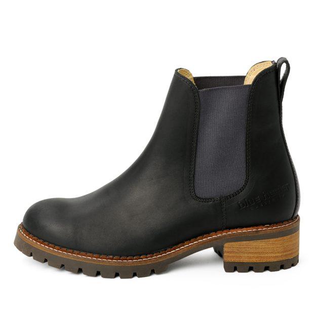 damen boots stiefeletten chelsea schwarz grafite pash leder rutschfest 03