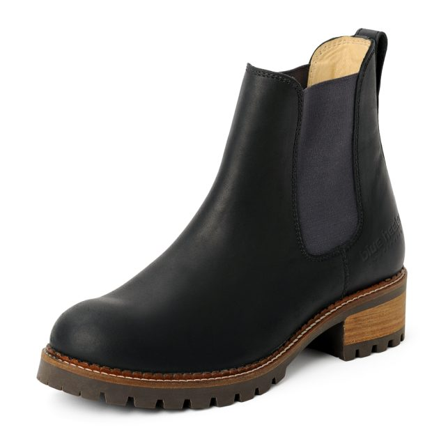 damen boots stiefeletten chelsea schwarz grafite pash leder rutschfest 04