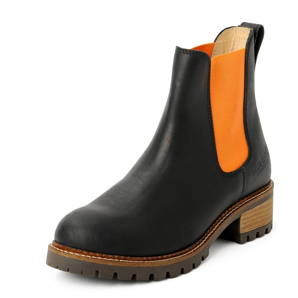 best sneakers 5d58b 57011 damen-boots-stiefeletten-chelsea-schwarz-orange-pash-leder ...