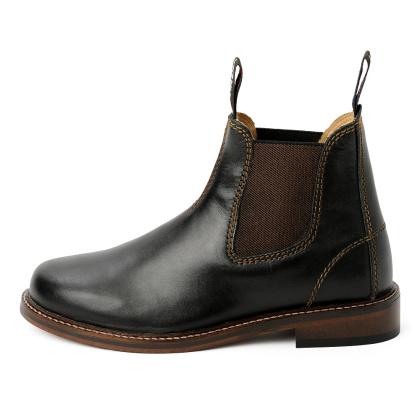 Damen Boots Stiefeletten Chelsea Schwarz Windsor Handgenaeht Ledersohle 03