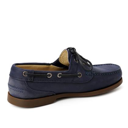 Damen Segelschuhe Docksiders Bootsschuhe Blau Sailorette Leder Handgenaeht 05