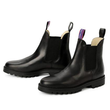 herren boots stiefeletten chelsea schwarz jackaroo leder rutschfest 00