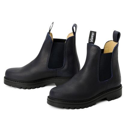 kinder boots schlupfstiefel blau meryl matt leder rutschfest 00