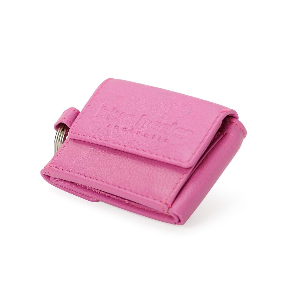 Leder-Portemonnaie mit Schlüsselring  pink