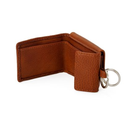 Portemonnaie Mit Schluesselring Braun Leder 21