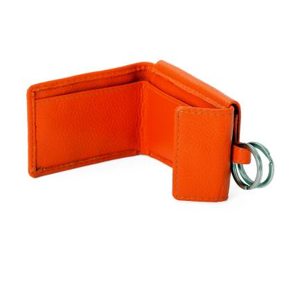 Portemonnaie mit Schluesselring Orange Leder 21